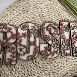 Houten deco letters bloemen