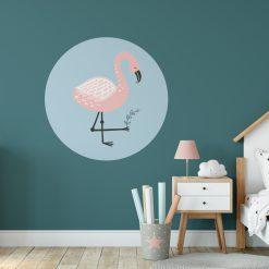 Kinderkamer flamingo thema behangcirkel lichtblauw