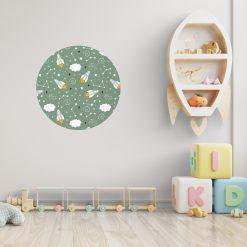 Kinderkamer met behangcirkel space thema groen