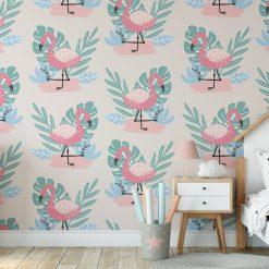 Kinderkamer flamingo stijl met behang