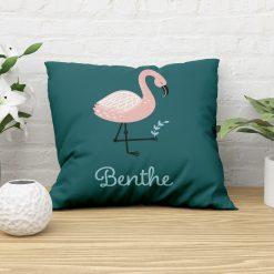 Sierkussen kinderkamer flamingo stijl met naam
