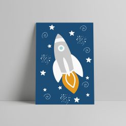 Kinderkamer Poster space thema, ruimte raket