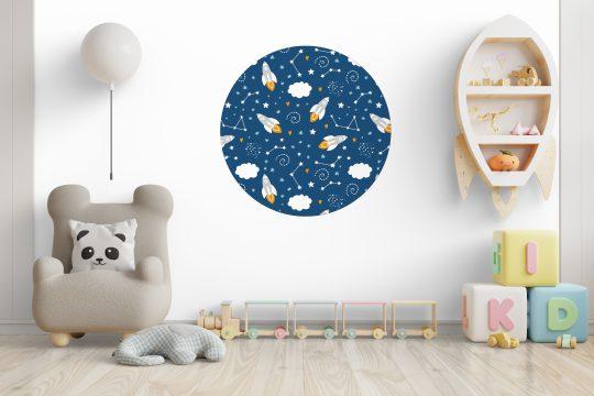 Kinderkamer met behangcirkel space - ruimte thema