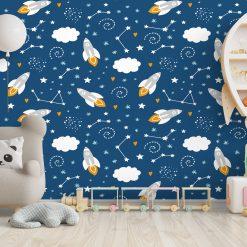 Kinderkamer met space thema behang