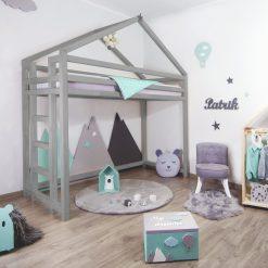 Kinderkamer met bedhuisje hoogslaper Toppy