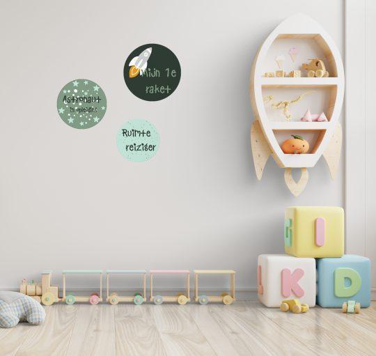 Kinderkamer space thema, muurcirkels