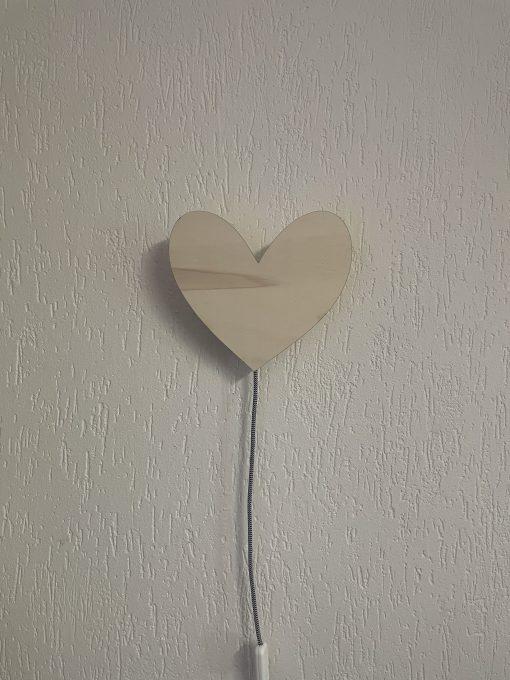 Houten wandlamp hartje
