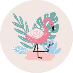 Muurcirkel Flamingo zacht roze