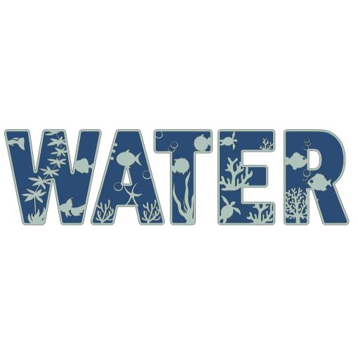 Houten deco letters - onderwaterwereld