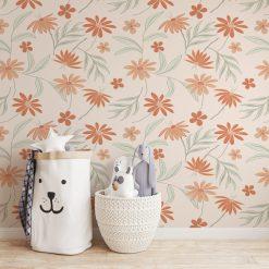 Kinderkamer muur met flora Peach behang