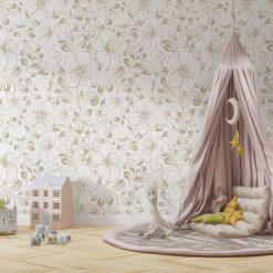 Kinderkamer met Bloemen behang