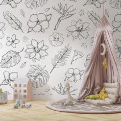 Kinderkamer muur met Tropical Flowers